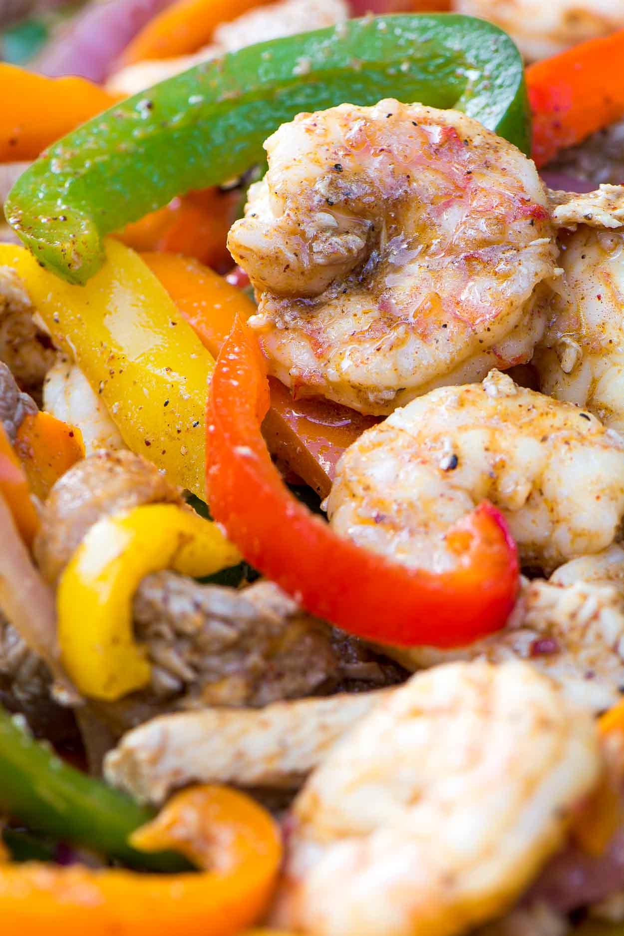 Sizzlin' Shrimp, Chicken and Steak Fajitas