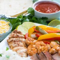 Chicken, Steak, Shrimp Fajitas