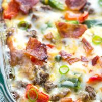 A healthy, fully loaded breakfast casserole topped with fresh veggies, meats and blends of cheeses. Breakfast is served! www.simplerevisions.com