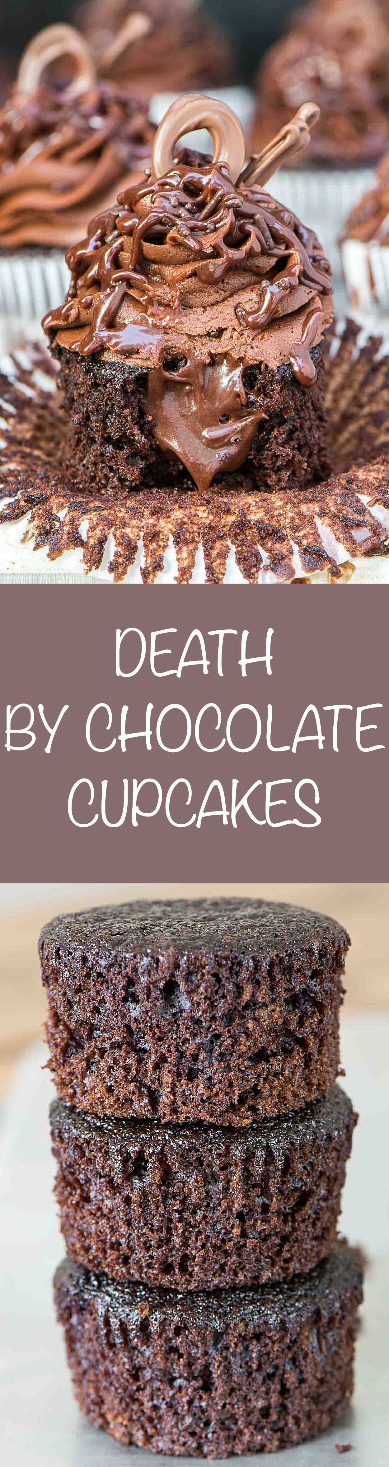 Death By Chocolate Cupcakes have chocolate on top of chocolatey goodness in every bite. It's a chocolate lover's dream. | Simple Revisions